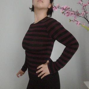 VTG BCBGMaxAzria Purple Black Stripe Long Shirt